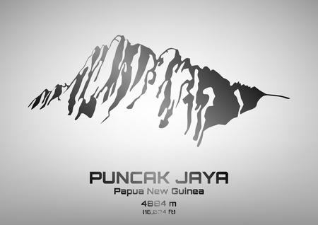 pinnacle: Outline vector illustration of steel Mt. Puncak Jaya (4884 m) Illustration