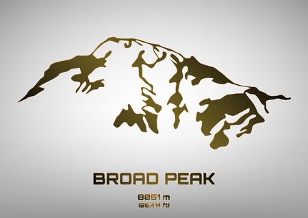 broad: Outline vector illustration of bronze Broad Peaka (8051 m) Illustration