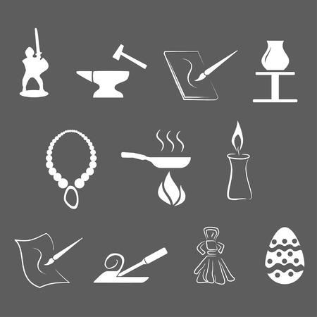 vector illustration - set of simply isolated traditional craftsmanships/arts white icons