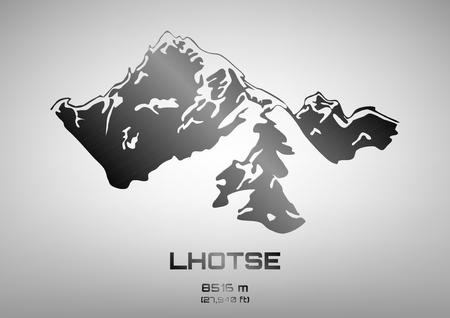 pinnacle: Outline vector illustration of steel Mt. Lhotse (8516 m) Illustration
