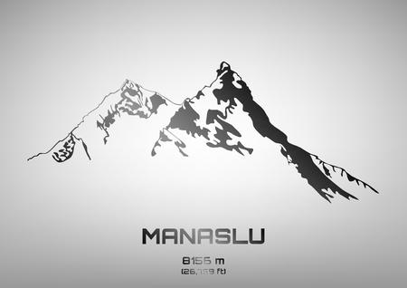 pinnacle: Outline vector illustration of steel Mt. Manaslu (8156 m) Ilustracja