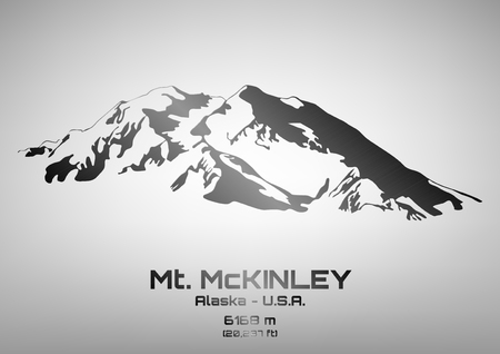 Outline vector illustration of steel Mt. McKinley (6168 m)