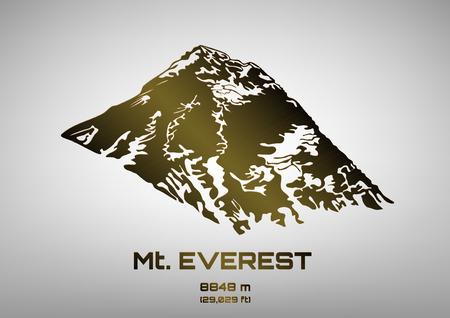 everest: Outline vector illustration of bronze Mt. Everest (8848 m)