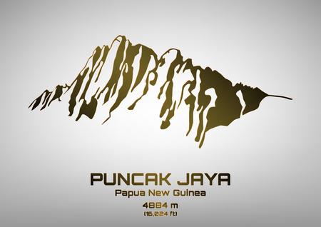 pinnacle: Outline vector illustration of bronze Mt. Puncak Jaya (4884 m) Ilustracja