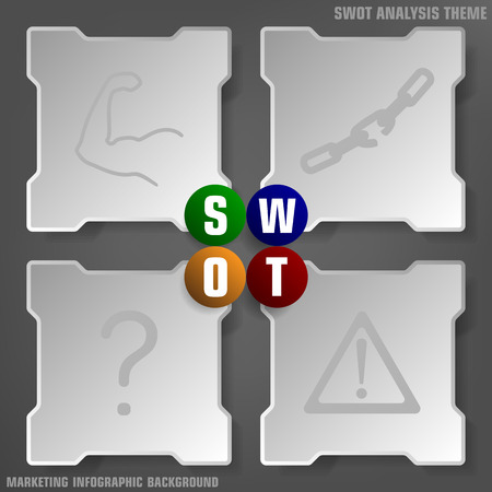 swot: Vector illustration of simply SWOT analysis background theme