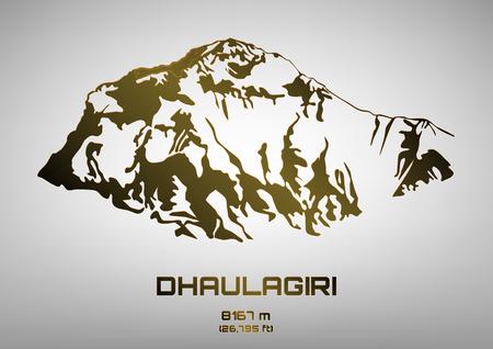 pinnacle: Outline vector illustration of bronze Mt. Dhaulagiri (8167 m)