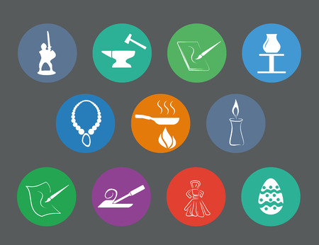 vector illustration - set of simply isolated traditional craftsmanships/arts flat design icons