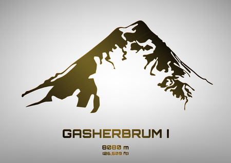 snow climbing: Outline vector illustration of bronze Mt. Gasherbrum I (8080 m)