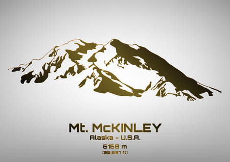 Outline vector illustration of bronze Mt. McKinley (6168 m) Иллюстрация