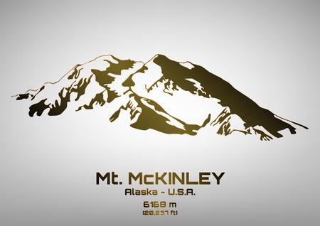Outline vector illustration of bronze Mt. McKinley (6168 m) Illustration