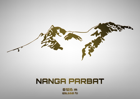 Outline vector illustration of bronze Mt. Nanga Parbat (8091 m)