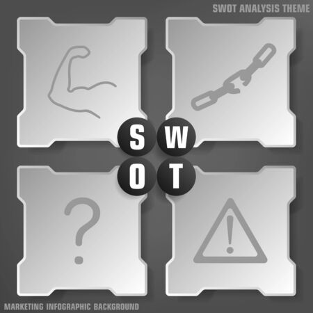 swot: Vector illustration of SWOT analysis background with icons in black, grey levels Illustration
