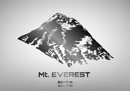 everest: Outline vector illustration of steel Mt. Everest (8848 m)