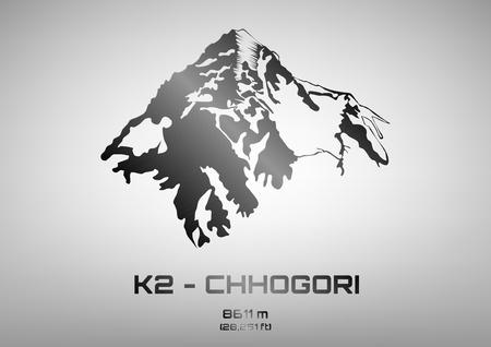 Outline vector illustration of steel Mt. K2 - Chhogori (8611 m) Vectores