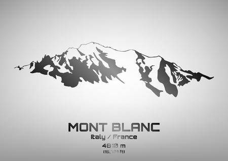 blanc: Outline illustration of steel Mont Blanc (4810 m)
