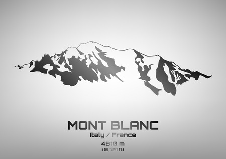 Outline illustration of steel Mont Blanc (4810 m)