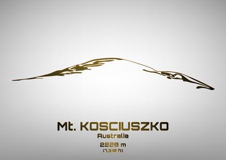 pinnacle: Outline vector illustration of bronze Mt. Kosciuszko (2228 m) Ilustracja