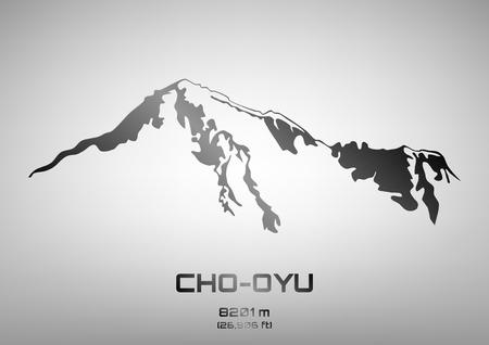 pinnacle: Outline illustration of steel Cho Oyu (8201 m)