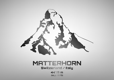 swiss alps: Outline illustration of steel Mt. Matterhorn (4475 m) Illustration
