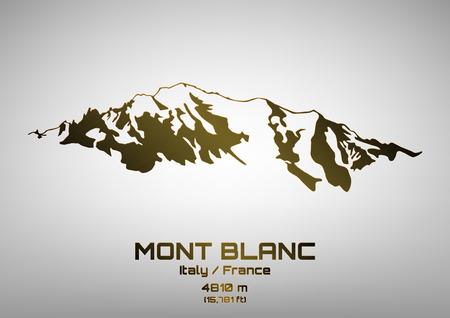 blanc: Esquema de la ilustraci�n vectorial de bronce Mont Blanc (4.810 m)