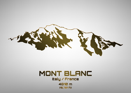Outline vector illustration of bronze Mont Blanc (4810 m) Иллюстрация