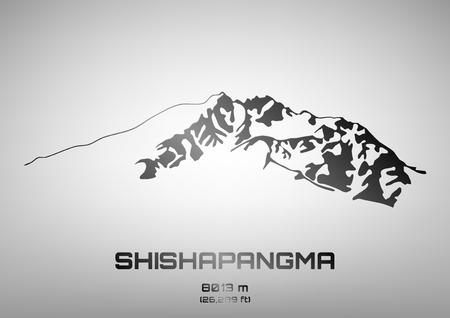 pinnacle: Outline vector illustration of steel Mt. Shishapangma (8013 m)