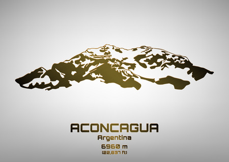 top seven: Outline illustration of bronze Mt. Aconcagua (6960 m) Illustration