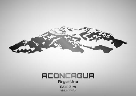 top seven: Outline illustration of steel Mt. Aconcagua (6960 m) Illustration