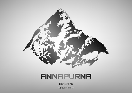 Outline illustration of steel Mt. Annapurna (8091 m)
