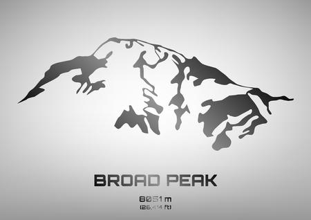 Outline illustration of steel Broad Peaka (8051 m) Vector