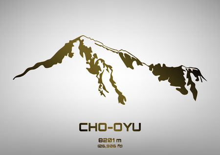pinnacle: Outline illustration of bronze Cho Oyu (8201 m)