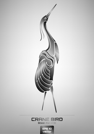 crane bird: Simply illustration drawing of steel metallic crane bird