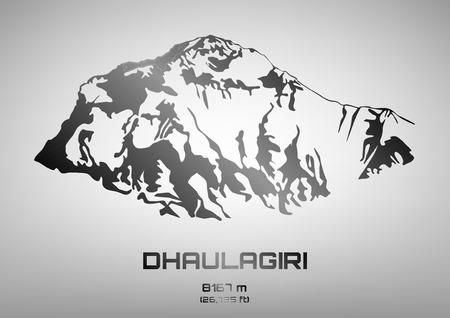 pinnacle: Outline illustration of steel Mt. Dhaulagiri (8167 m) Ilustracja