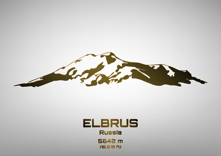 pinnacle: Outline illustration of bronze Mt. Elbrus (5642 m)