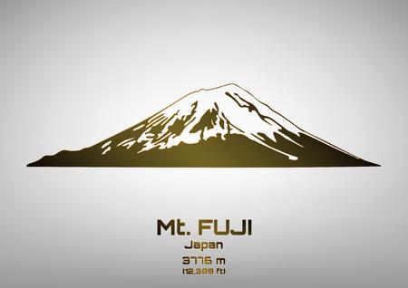 Outline illustration of bronze Mt. Fuji (3776 m) Ilustração