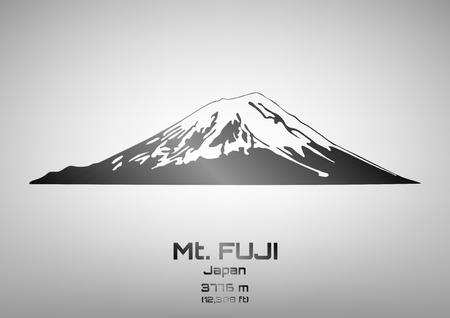 pinnacle: Outline illustration of steel Mt. Fuji (3776 m) Ilustracja