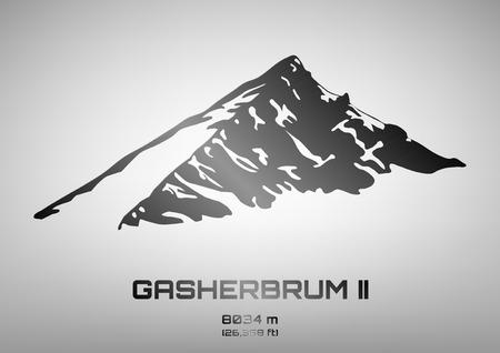 pinnacle: Outline illustration of steel Gasherbrum II (8034 m) Illustration
