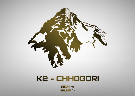 pinnacle: Ilustracja konspektu z brązu Mt. K2 - Chhogori (8611 m) Ilustracja