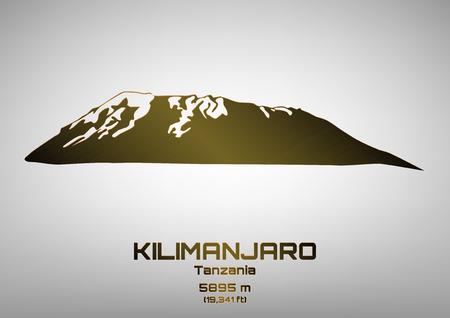 kilimanjaro: Outline illustration of bronze Mt. Kilimanjaro (5895 m)