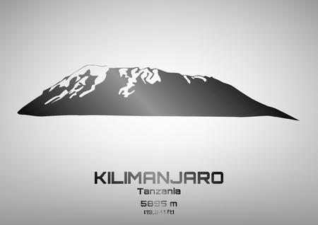 pinnacle: Outline vector illustration of steel Mt. Kilimanjaro (5895 m) Ilustracja