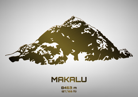 pinnacle: Outline illustration of bronze Mt. Makalu (8463 m)