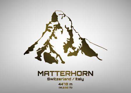 Outline vector illustration of bronze Mt. Matterhorn (4475 m)