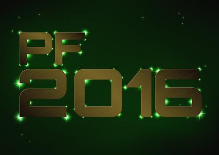 Vector illustration of bronze metallic PF 2016 over green night sky