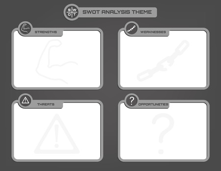 swot analysis: Vector illustration of SWOT analysis background with icons in grey levels
