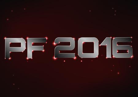 pf: Vector illustration of bronze metallic PF 2016 over red night sky