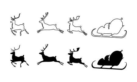 reno: ilustraci�n vectorial de Santa Claus silueta con trineo y renos tres