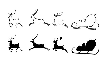 santas sack: vector illustration of Santa Claus silhouette with sleigh and three reindeers Illustration