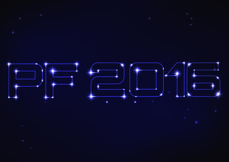 Vector illustration of blue PF 2016 in style of constellation