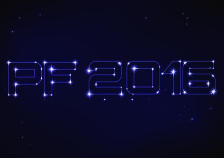 pf: Vector illustration of blue PF 2016 in style of constellation Illustration