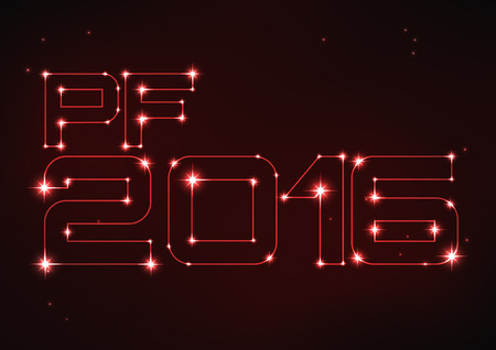 pf: Vector illustration of red PF 2016 in style of constellation